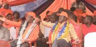 NASA co-principal Raila Odinga and Kakamega governor Wycliffe Oparanya at a past event