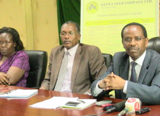 (From left) Hasaria Soy, Kenya Seed MD nd his staff while addressing media at the seed company in kitale.