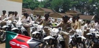 The chiefs with some of the motorbikes they were given to help boost security in the region