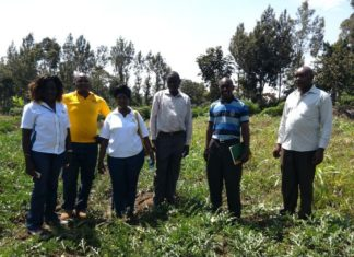 Mulamula in a yellow T-shirt with agricultural officers from Kenya Seed Company and Shinyalu Sub County