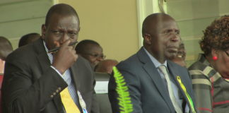 Deputy President William Ruto at the function with Agriculture CS Willy Bett