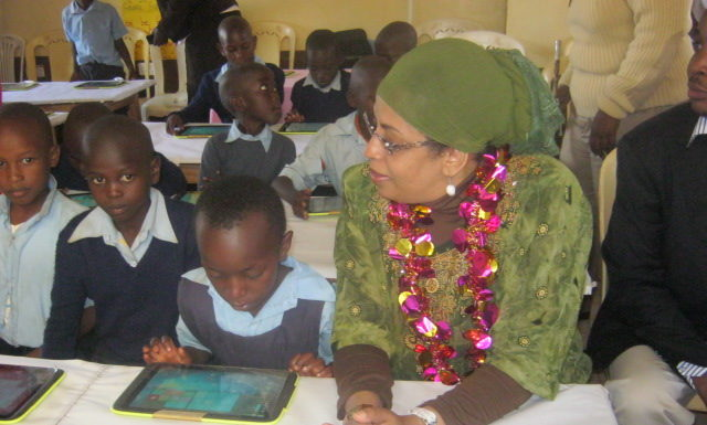 Land Principal Secretary Mariam El Maawy with Kapsokwony primary pupils