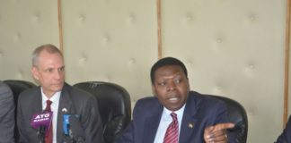 Water and Irrigation CS Eugene Wamalwa with US Ambassador Bob Godec
