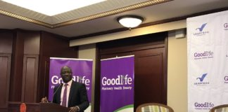 Dr.Felix Olale of the Good life Pharmacy addressing healthcare stakeholders in Nairobi
