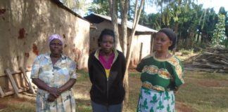 From left, the deceased's grandmother Mrs Phanice Imbwenya mother Lilian Veleso and her auntie Pamela Lumile at their Makutano home in Sango