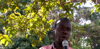 Matulo Ward MCA Paul Wanyonyi addressing residents