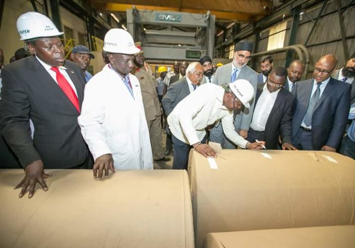 President Uhuru Kenyatta during the reopening of Rai Paper mills in Webuye, Bungoma county