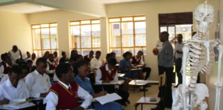 Clinical Medical students during a lesson at the KMTC Busia Campus