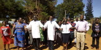 Some of the striking nurses in Kitale, Trans Nzoia County