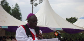 ACK Kapsabet Diocese Bishop Paul Korir addressing believers at Kebulonik Mixed Secondary school in Mosop constituency
