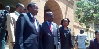 Chief Justice David Maraga and IEBC Chairman Wafula Chebukati at the Supreme Court