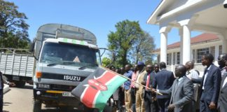 West Pokot county leaders during the commissioning of relief food disbursement in the county