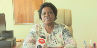 Trans Nzoia County Commissioner Anne Gakuria while addressing the press in her office