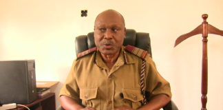 Cheptais DCC Stephen Momanyi as he spoke to the West Media in his office concerning SLDF rumours in Mt Elgon
