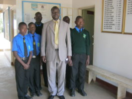 Chesamisi High School principal John Wakwabubi with the students