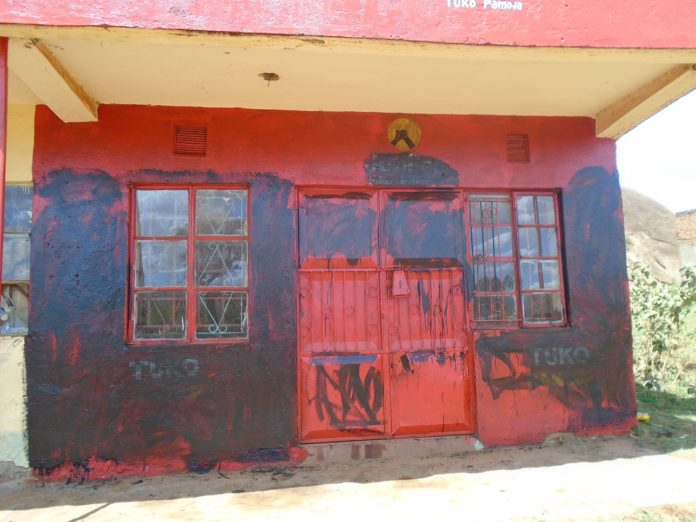 The defaced Jubilee party office in Lugari