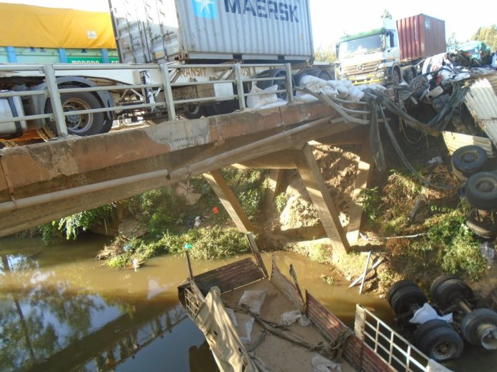 The scene of the accident after truck plunged into a river