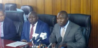 Agriculture CS Willy Bett addressing the press