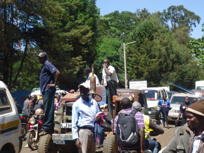 The blocked Kapsabet-Eldoret highway