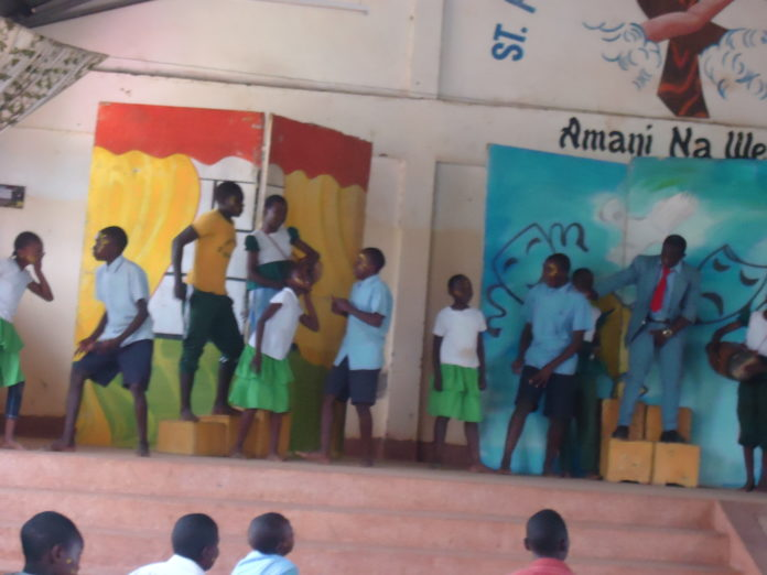 Some of the performers on stage during the drama festival