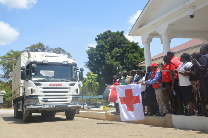 Leaders flagging off the medical equipment in West Pokot