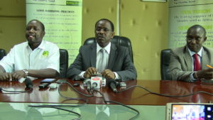 Kenya Seed MD Azariah Soi (C) as he addressed journalists accompanied by senior officers of the company