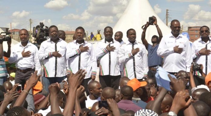 NASA leaders in Mathare during the opposition party rally