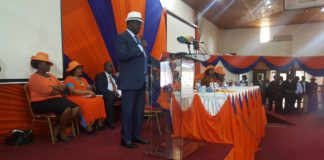 ODM leader Raila Odinga addressing party women aspirants