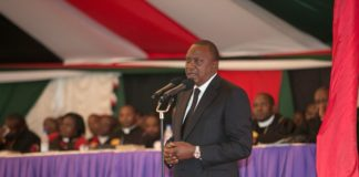 President Uhuru Kenyatta at the burial ceremony of the late James Nderitu Gachagua