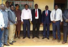 Alupe University College Principal Prof Fabian Esamai (fourth right) and CEC for Public Works Bernard Yaite on his immediate left at the Public Works offices