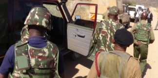 Police officers along the Kapenguria-Lodwar road