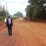 Busia CEC for Public Works Bernard Yaite inspecting the compacted Tesia-Supermarket- Referral Hospital- Catholic Church-Port Victoria Plaza Junction