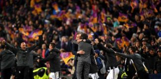 Barcelona Coach Luis Enrique embraces Juventus Coach Massimiliano Allegri after their UCL tie