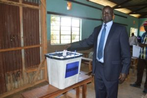 West Pokot County Governor Simon Kachapin casts his vote in the Jubilee Party primaries