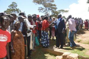 West Pokot Governor greets residents at the voting centre