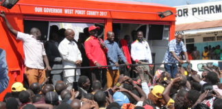 West Pokot leaders led by Governor Simon Kachapin during Jubilee celebrations in Kapenguria after the party nominations