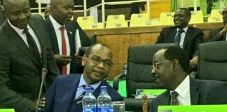 KCB Group CEO Joshua Oigara (left) with KCB Group Chairman Ngeny Biwott