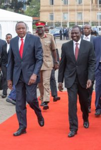 President Uhuru Kenyatta and Deputy President William Ruto at the function
