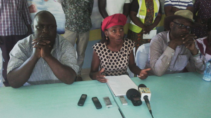 Jubilee aspirants Rose Natecho and Joe Khaemba issuing a press statement