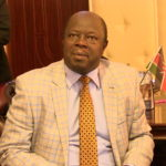Trans Nzoia Governor Patrick Khaemba as he addressed journalists in his office