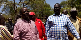 KANU leaders and West Pokot Senator John Lonyangapuo and former Cabinet Minister Samuel Poghisio in a past function