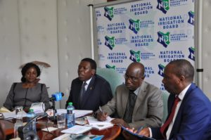 Water CS Eugene Wamalwa addressing the press during the launch