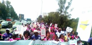 Women in Nairobi hold peaceful march protesting gender violence