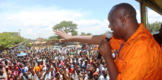 Busia Governor Sospeter Ojaamong during a campaign rally at Adungos market in Teso South