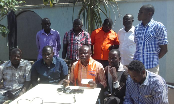 Busia County Orange Democratic Movement (ODM)Youth League chairman Engineer James Anyango addressing the press in Busia Town