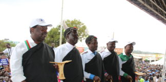 NASA principals in West Pokot, from left Musalia Mudavadi, Raila Odinga, Kalonzo Musyoka, Isaac Ruto and Moses Wetangula
