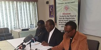 Kenya Council of Catholic Bishops (KCCB) officials addressing the press