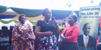 From left-Mrs. Margaret Makelo (Bungoma) Olivia Ranguma (Kisumu) and Priscilla Oparanya (Kakamega)