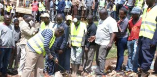 Trans Nzoia Governor Patrick Khaemba during the clean up exercise