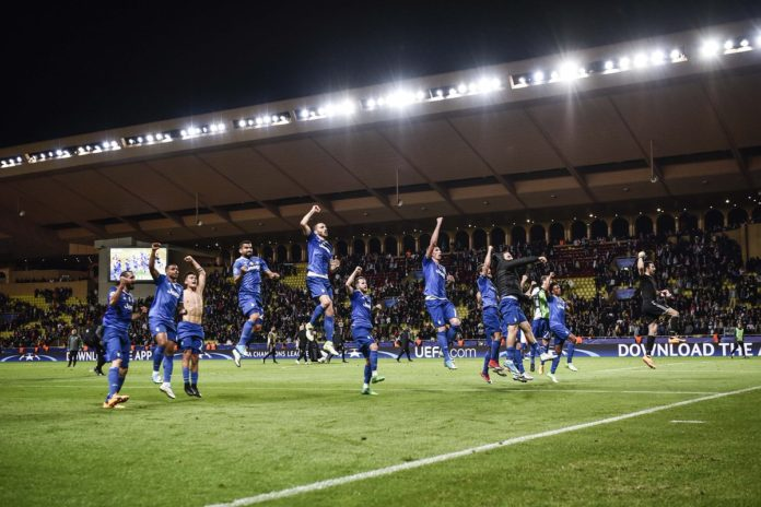Juventus players celebrating after the match against Monaco
